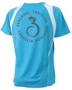 T-Shirt Frauen Blau Hinten Rundlogo Reflekt Trainingsoutfit