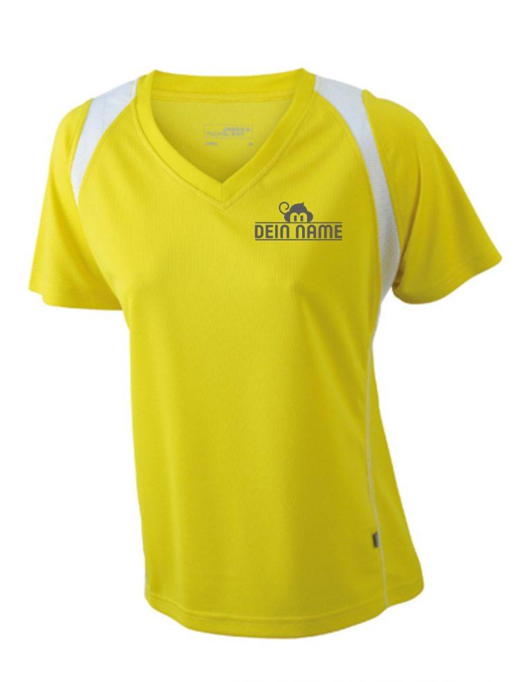 T-Shirt Frauen Gelb Vorne Dein Name Reflekt Trainingsoutfit