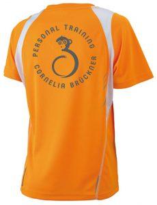 T-Shirt Frauen Orange Hinten Rundlogo Reflekt Trainingsoutfit