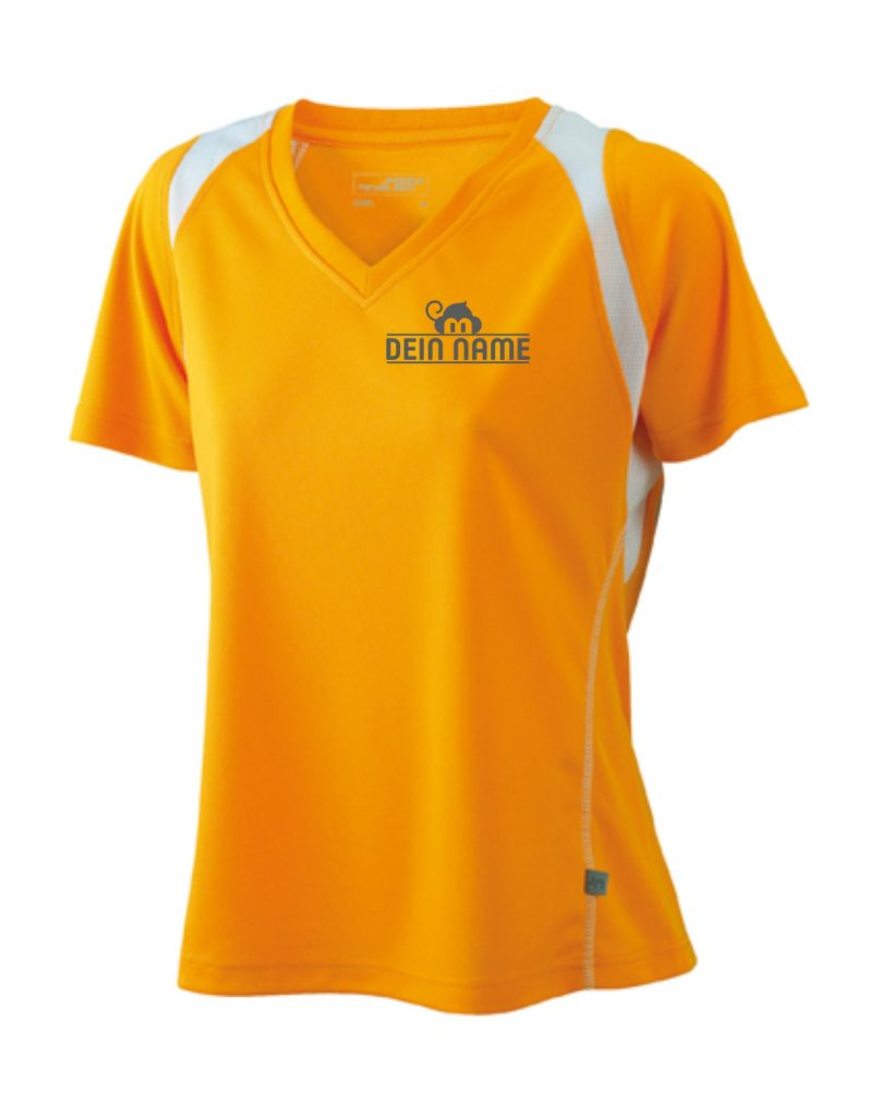 T-Shirt Frauen Orange Vorne Dein Name Reflekt Trainingsoutfit