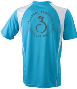 T-Shirt Männer Blau Hinten Rundlogo Reflekt Trainingsoutfit