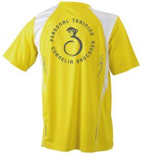 T-Shirt Männer Gelb Hinten Rundlogo Reflekt Trainingsoutfit