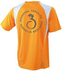 T-Shirt Männer Orange Hinten Rundlogo Reflekt Trainingsoutfit