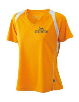 T-Shirt Frauen Orange Vorne Dein Name Reflekt Trainingsoutfit